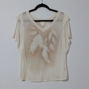 Anthropologie Line & Dot Beaded Feather Leaf Top